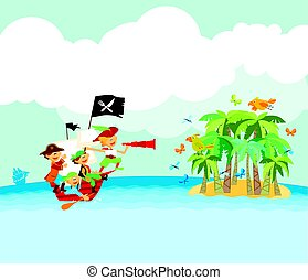 pirate tropical beach vector illustration
