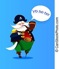 pirate., vector, carácter, caricatura, one-legged