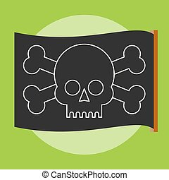 Pirate vector flag. Jolly Roger.