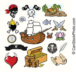 Pirate Vector Illustration Set