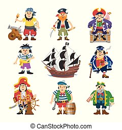 Pirate vector piratic character buccaneer man in pirating costume in hat with sword illustration set of piracy sailor person and ship or sailboat isolated on white background