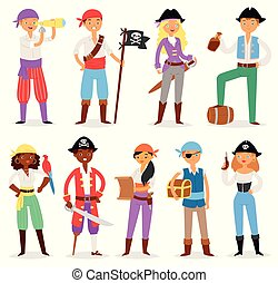 Pirate vector piratic character buccaneer man or woman in pirating costume in hat with sword illustration set of piracy sailor person with treasure chest isolated on white background