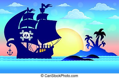 Pirate vessel silhouette theme 5