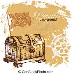 Pirate vintage background. Sea nautical design. Hand drawn illustration