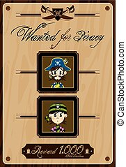 Pirate Wanted Poster - Cute Cartoon Pirate Buccaneers Wanted...