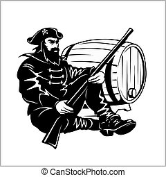 Pirate with a gun and barrel - vector illustration
