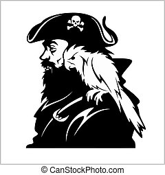 Pirate with a parrot on his shoulder on white background