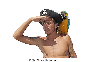 Pirate with a parrot on his shoulder looking into the...