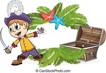 Pirate with a treasure chest