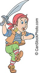 Pirate with cutlass - Illustration of cute pirate boy with...