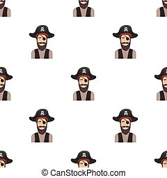 Pirate with eye patch icon in cartoon style isolated on white background. Pirates symbol stock vector illustration.