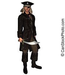 Pirate with eyepatch, 3d digitally rendered illustration