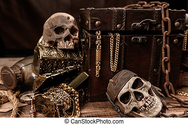 Pirate with human skull. Treasure chest and gold. Discovery ...