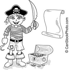 Pirate with map outline