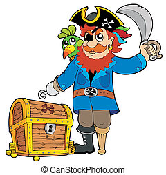 Pirate with old treasure chest - vector illustration.