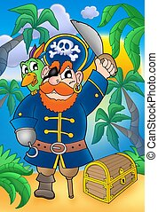 Pirate with parrot and treasure chest