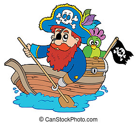 Pirate with parrot paddling in boat - vector illustration.