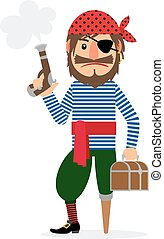 Pirate with pistol and treasure chest - Pirate cartoon...