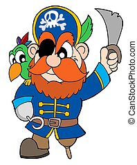 Pirate with sabre and parrot - isolated illustration.