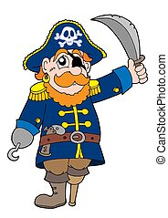 Pirate with sabre - isolated illustration.