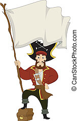 Pirate with Treasure Chest and Pirate Flag