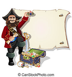 Pirate with treasure frame
