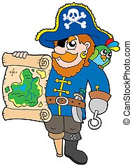 Pirate with treasure map - isolated illustration.