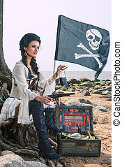Pirate woman sitting near treasure chest - Beautiful pirate...