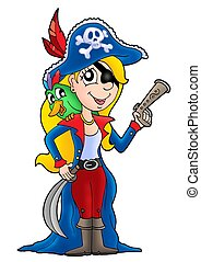 Pirate woman with parrot