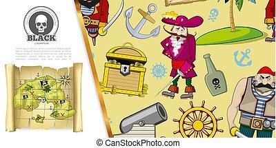 piraten, begriff, abenteuer, karikatur
