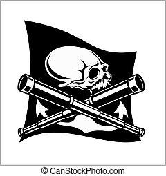piraten, emblem, -, teleskope, und, skull., schwarz, fahne,...