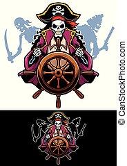 piraten, maskottchen, tot
