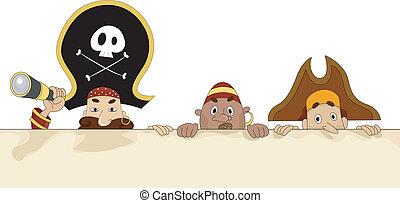 piraten, met, leeg, plank, 2