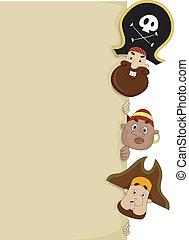 piraten, met, leeg, plank