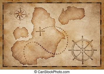 piraten, schat, oud, kaart