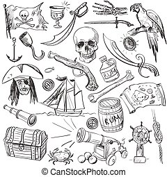 piraten, set., hand, getrokken