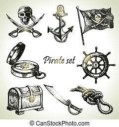 piraten, set., illustraties, hand, getrokken