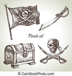 piraten, set., illustraties, hand, getrokken
