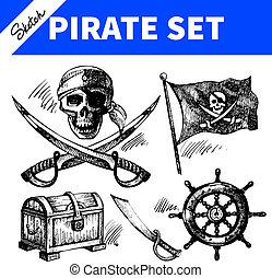 piraten, set., schets, illustraties, hand, getrokken