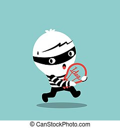 piratería, bombilla, robar, idea, ladrón