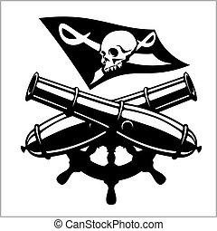 piratería, canon, bandera, cruzado
