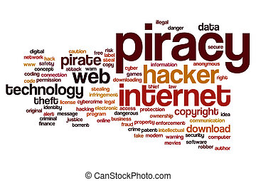 piratería, palabra, nube