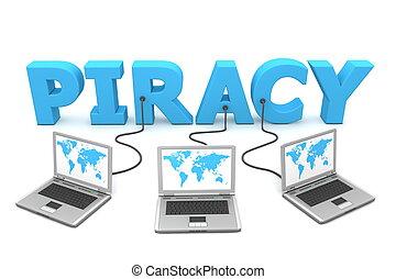 pirateria, multiplo, metallico