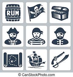 pirateria, pirati, vettore, set, icone