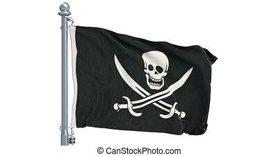 piraterie, animation., onduler, rendre, drapeau, fond, blanc, 3d