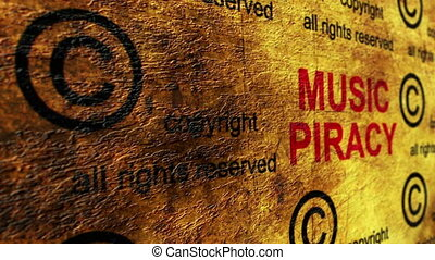 piraterie, musique, concept, grunge
