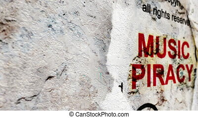 piraterie, texte, grunge, fond, musique