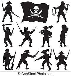 pirates, équipage, silhouettes, ensemble, 2