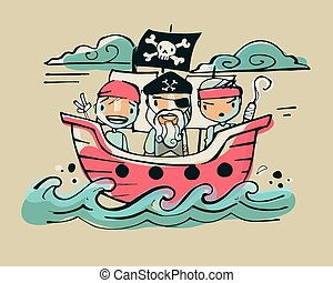 Pirates ab - Hand drawn vector illustration or drawing of...