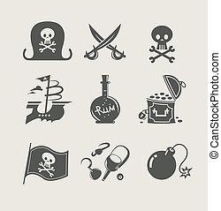 pirates accessory set of icon